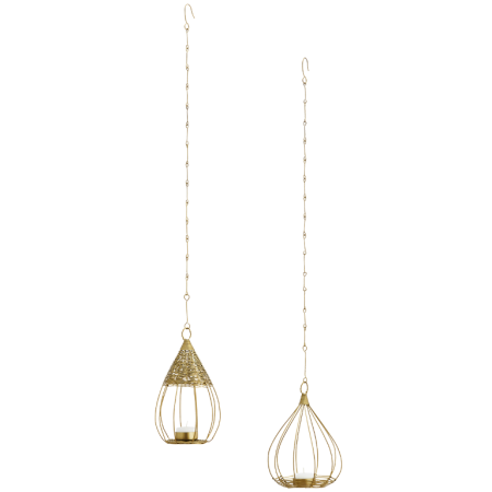 Hanging bird cage votives set/2