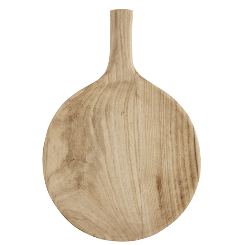Round wooden serving dish w/ handle