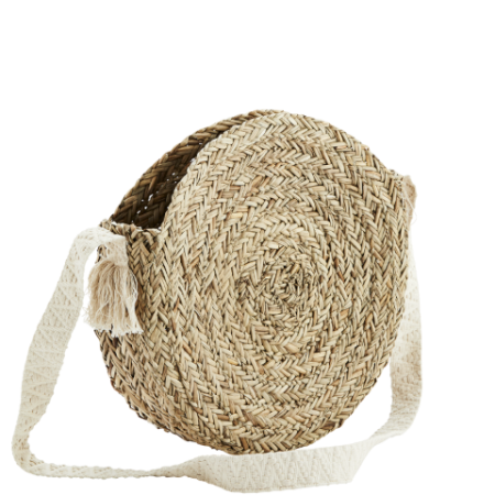 Round straw bag w/ cotton strap