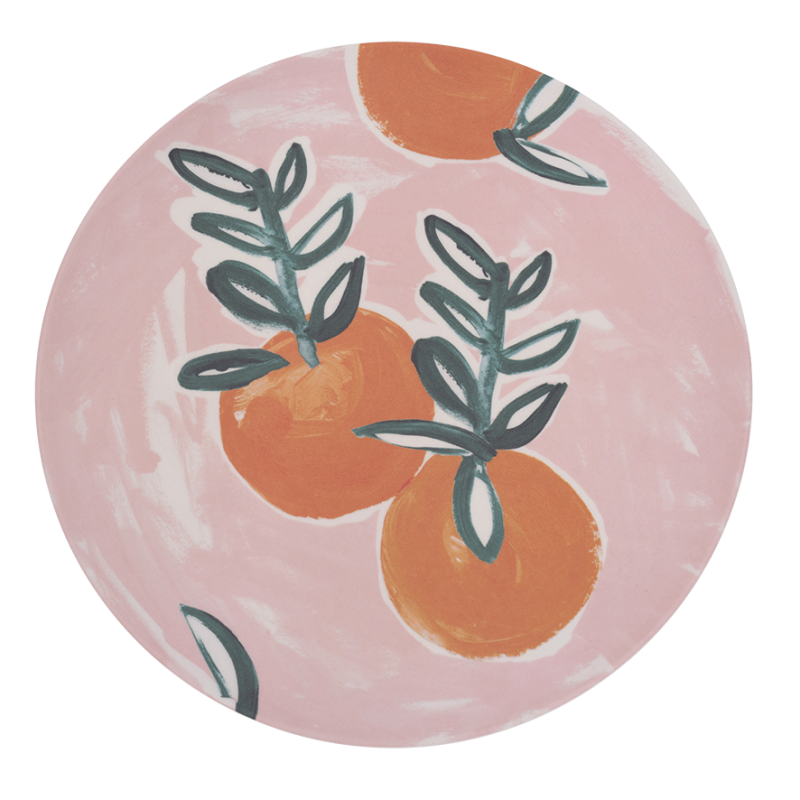Plate Bamboo Sicilian Summer Pink Orange