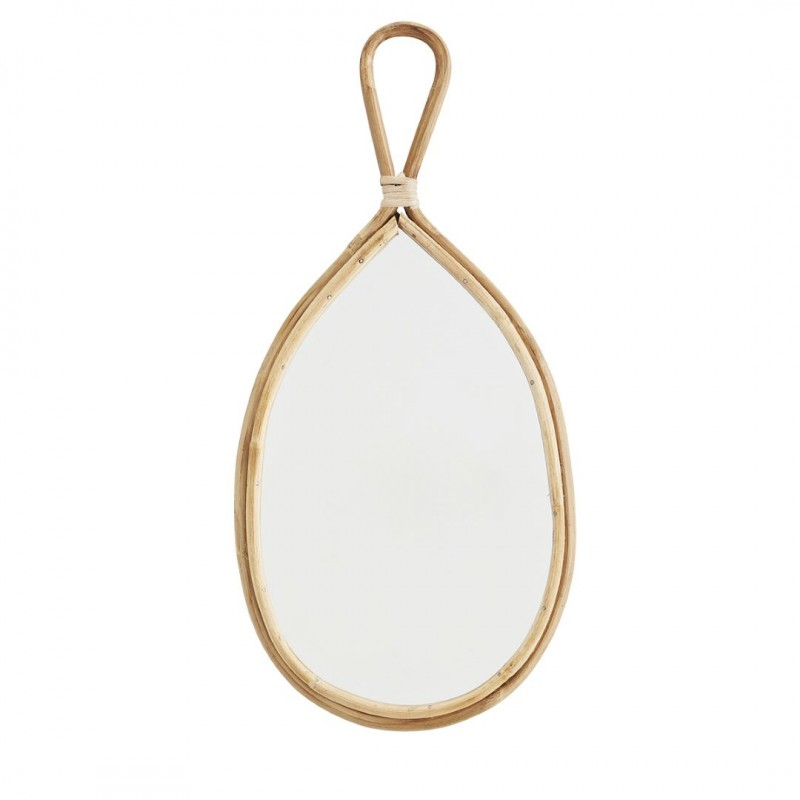 Oval mirror w/ bamboo frame