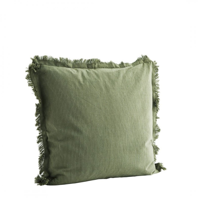 Woven cushion cover w/ fringes