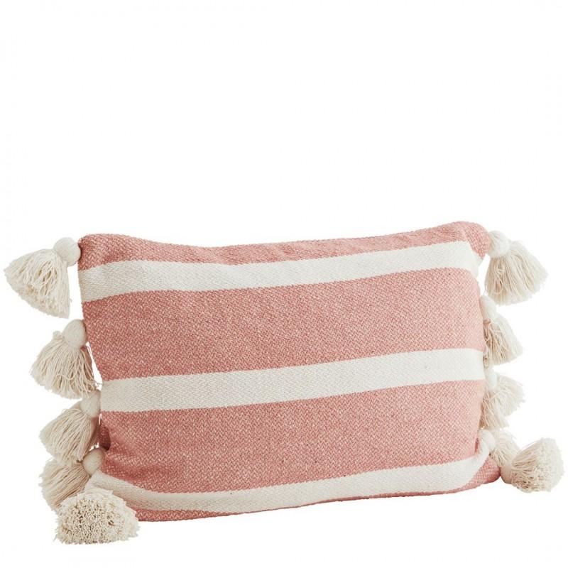 Striped cushion cover w/ tassels