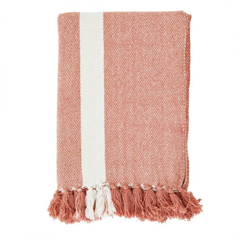 Striped woven throw w/ tassels