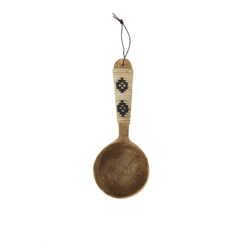 Wooden serving spoon w/ cane