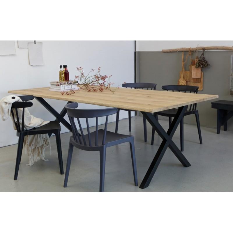 Tablo tree table oak top with x-legs metal