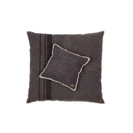 Coarse heavy washed cushion with stripe dark grey