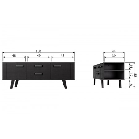Watch TV unit pine rough sawn black [fsc]