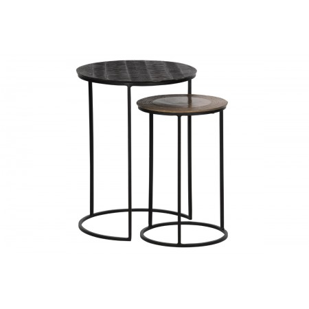 tate sidetable metal dark brown/antique brass set/2