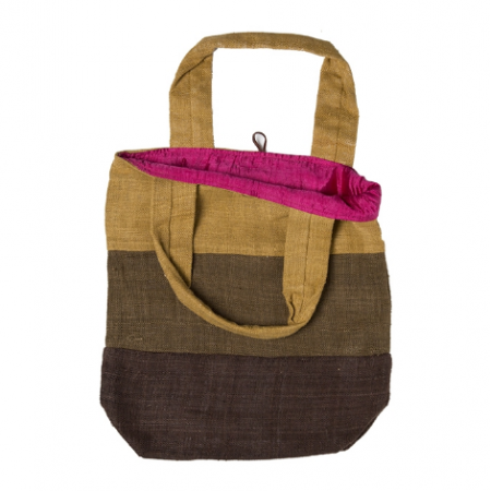 Hemp bag with brown stripes