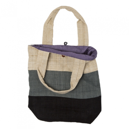 Hemp bag with black stripes