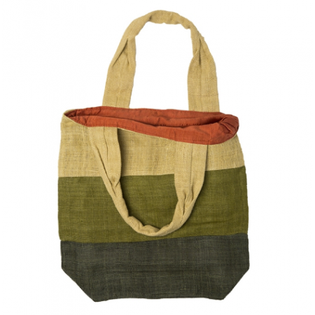 Hemp bag with green stripes