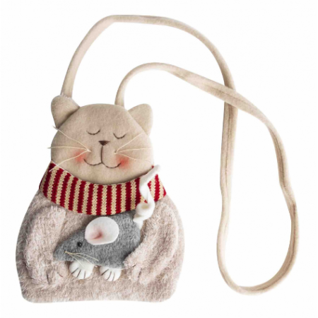 Shoulder bag with cat and mouse