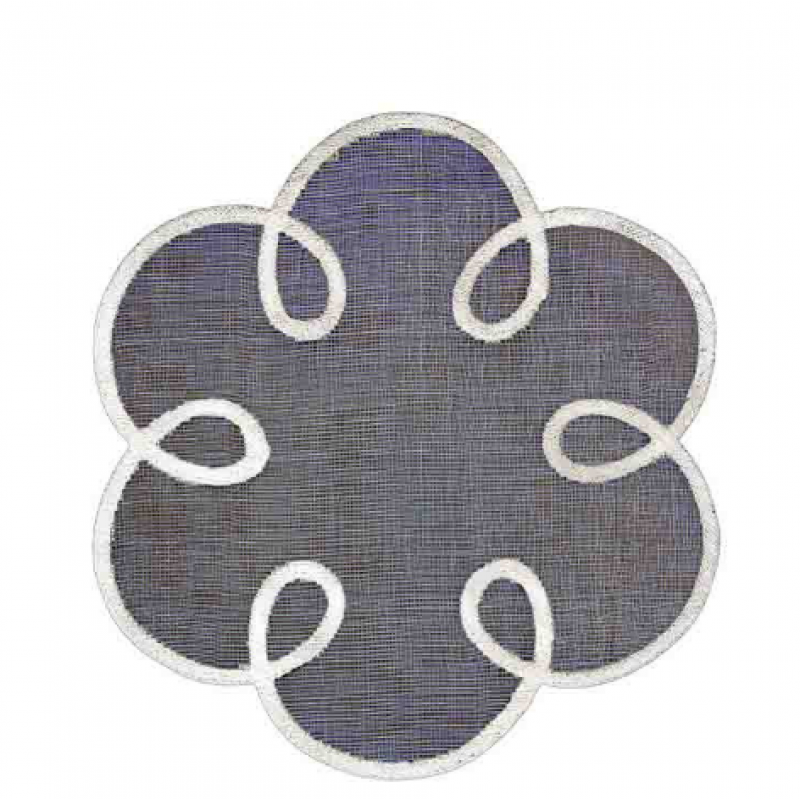 Underplate black flower with white edge