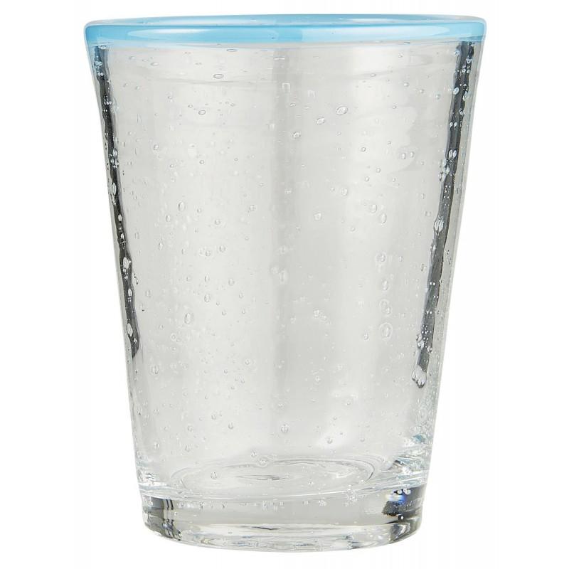 Ποτήρι νερού με γαλάζια γραμμή από φυσητό γυαλί