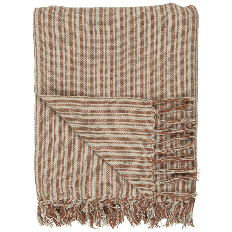 Throw cream/rust stripe pattern