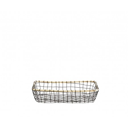 Rectangular basket w/ wood