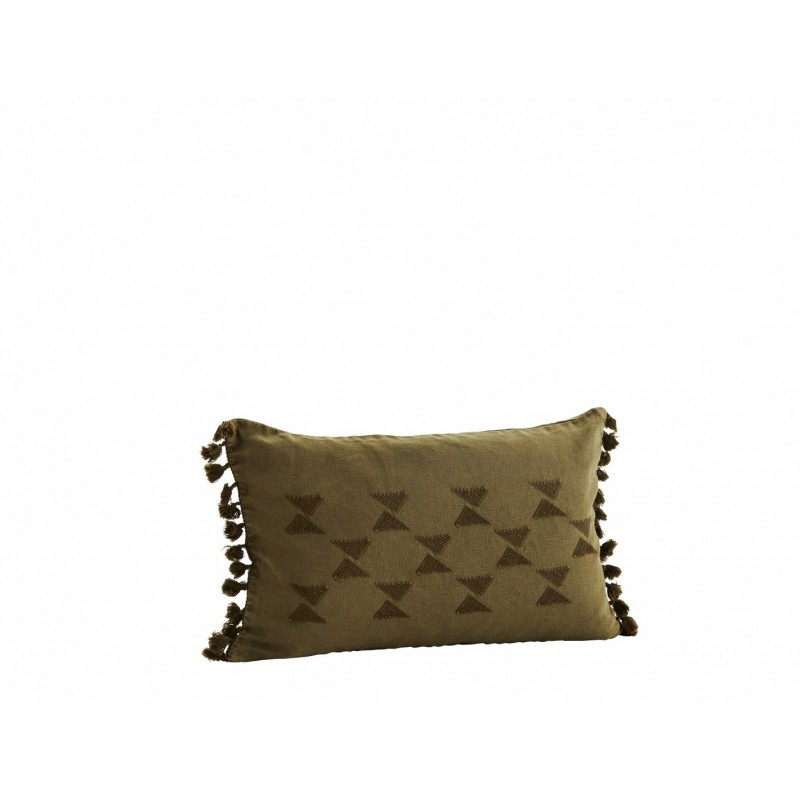 Cushion cover w/ embroidery and tassels