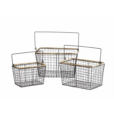 Wire baskets w/ bamboo