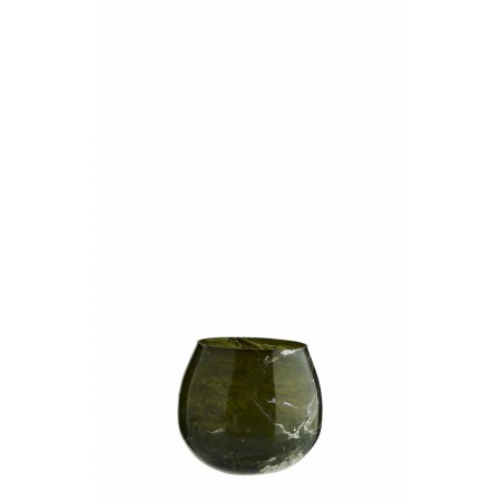 Glass votive w/ marble finish