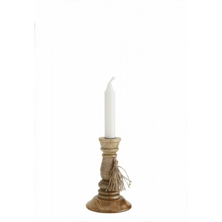Wooden candle holder w/ tassel