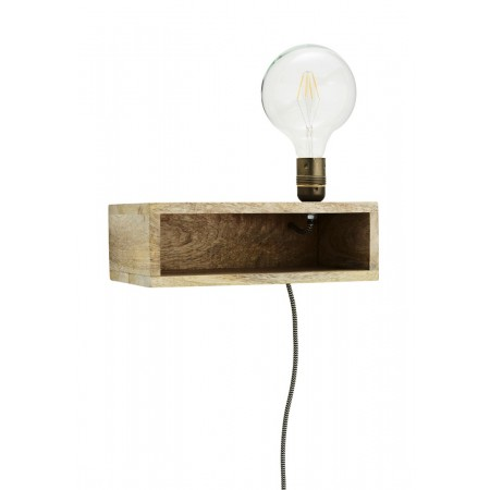 Wooden wall lamp w/ shelf