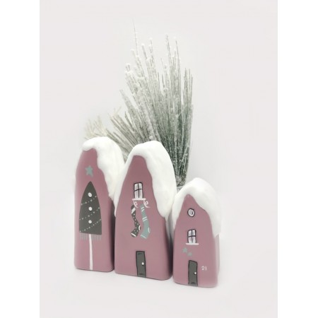 Handmade Snowy Small Houses set/3