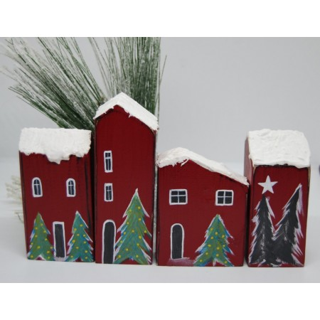 Handmade Snowy Small Houses set/4