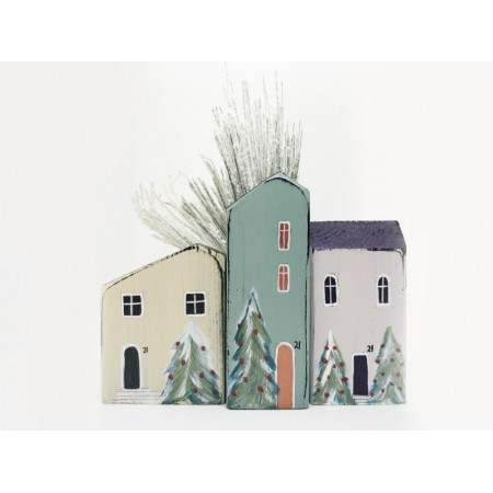 Handmade x-mas  Small Houses set/3