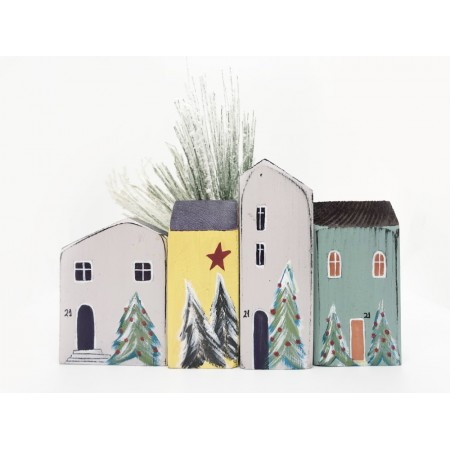 Handmade x-mas  Small Houses set/4