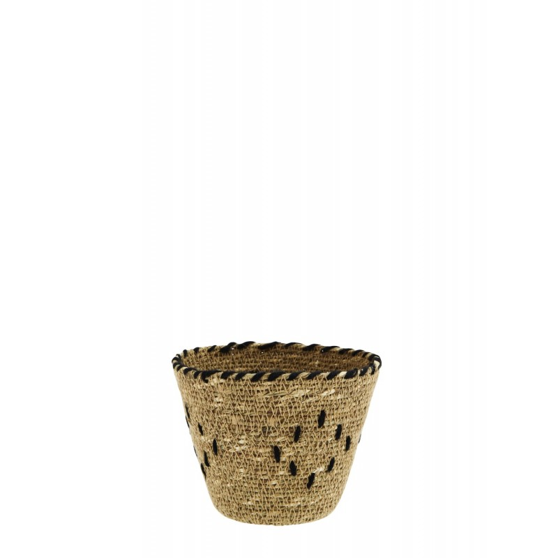 Seagrass basket w/ embroidery