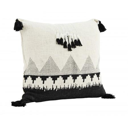Printed cushion cover w/ tassels