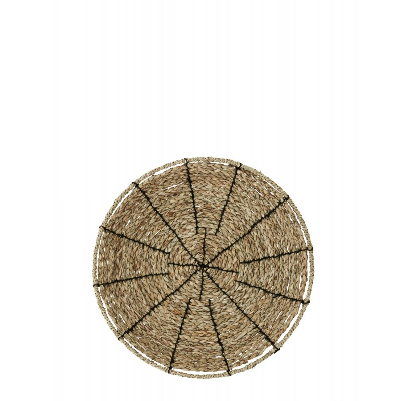 Embroidered seagrass tray