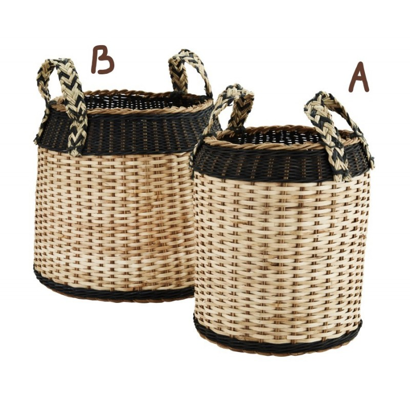 Rattan basket w/ handles small
