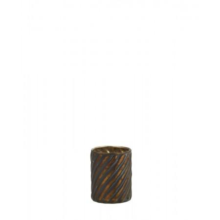 Glass votive w/ stripes