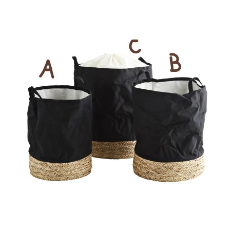 Fabric hamper w/ straw base small