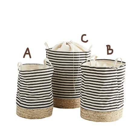 Striped fabric hamper w/ straw base large