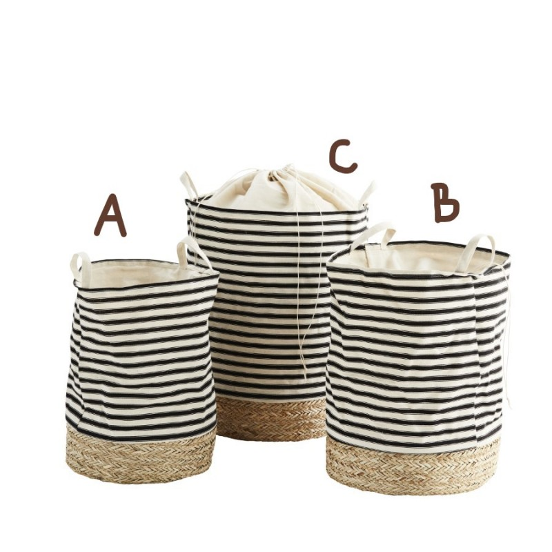 Striped fabric hamper w/ straw base medium